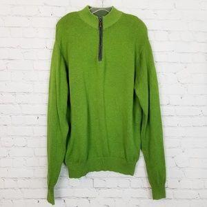 Peter Millar|Green Wool Blend 1/4 Zip Pullover